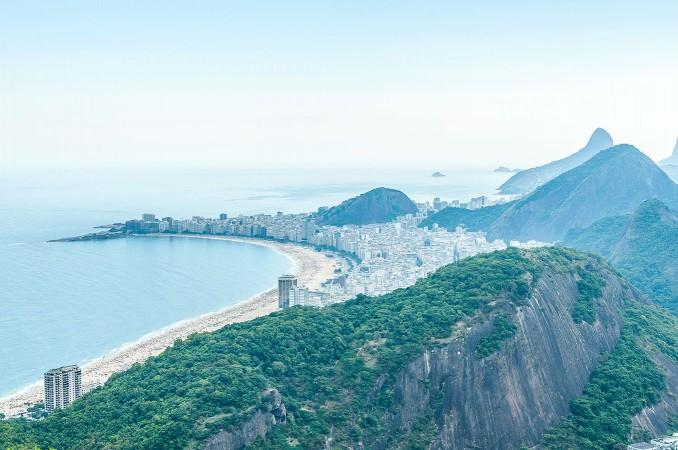Vista dal Pan di Zucchero sulla spiaggia di Copacabana